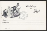 Litho Einladung zur Jagd Reh Rehbock
