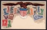 Briefmarkenkarte USA Ottomar Zieher München
