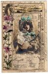 Fröhliche Ostern Postkarte mit Blumenduft Dame