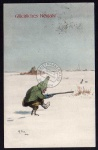 Neujahr Zwerg Jagd Hase Schnee 1919