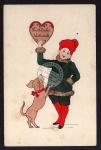 Weihnachten 1913 Hund Herz Pelz Künstlerkarte