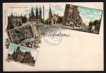 Litho 1896 Wiesbaden Wilhelmstraße Rathaus
