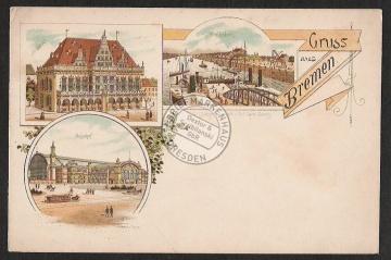 Bremen Bahnhof Litho Freihafen Rathaus Hafen