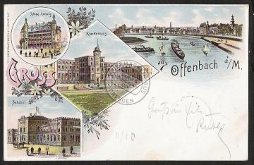 Litho Offenbach Bahnhof  Schloss Ilsenburg Kra