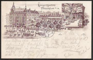 Litho Frankfurt Main Kaisergarten Restaurant R