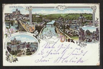 Litho Diez Lahn Markt Wilhelmstrasse 1901