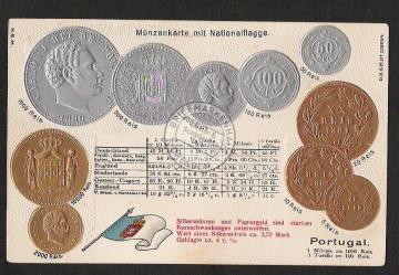 Münzprägekarte Portugal Gold Silber Milreis