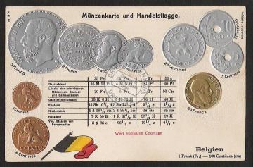 Münzprägekarte Belgien Gold Silber