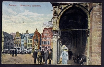 Bremen 1913 Marktplatz Ratscafe
