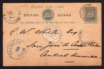 British Guiana Transito Colon to Costa Rica 1890