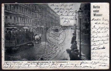 Berlin unter Wasser Yorkstraße Hochwasser 1902
