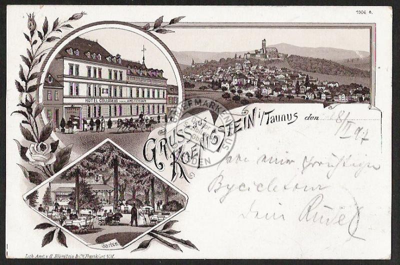 Litho Königstein Taunus Hotel Colloseus vorm.