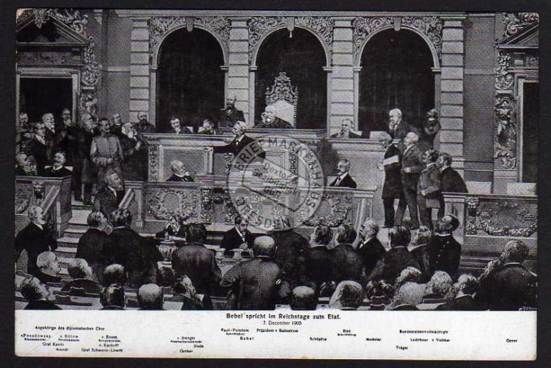 Bebel spricht im Reichstage zum Etat 7.12.1905