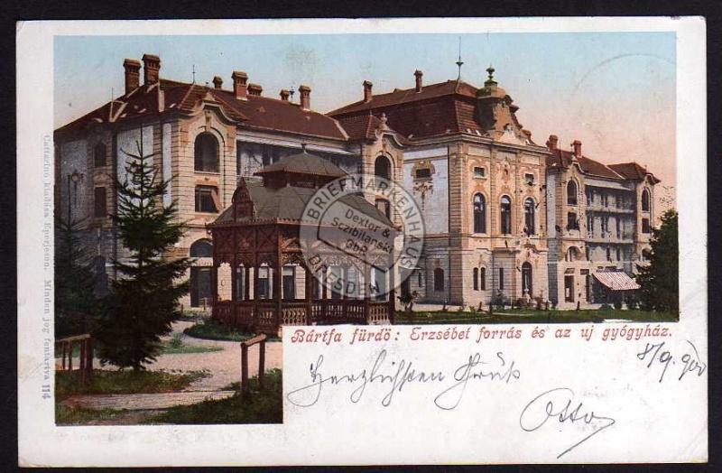 Bardejov Bartfa fürdö 1900 Erzsebet forras es