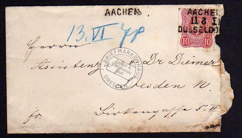 DR 33a seltener Einzeiler Bahnpost Aachen Düssel