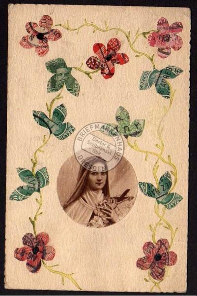 Blumenranke aus echten Briefmarken DR Belgien
