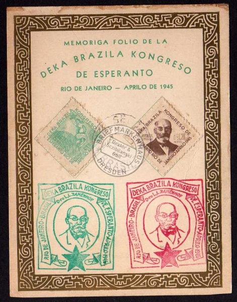 Deka Esperanto 1945 Zamenhof Rio de Janeiro